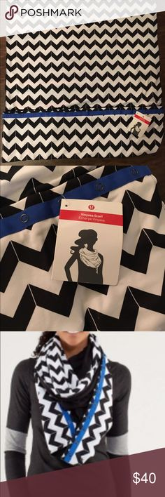 Never Worm Lululemon Vinyasa Chevron Scarf Chevron black and white scarf. You can wear it various ways. Reversible to all black on one side. Snap closures to adjust and wear different ways. Tags still on lululemon athletica Accessories Scarves & Wraps