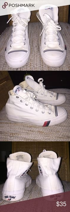 Almost New Vintage Pro Keds Size 8.  Men's Vintage White Canvas High Top Pro Keds Pro Keds Shoes Sneakers