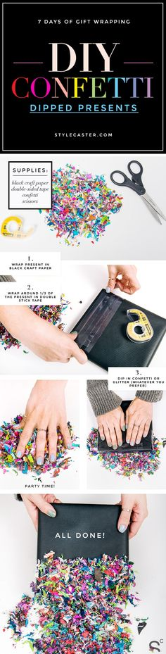 7 days of Gift Wrapping: DIY Confetti Dipped Presents - 3-step, easy + colorful gift wrapping idea for the holidays and beyond. — Stylecaster.com | Click through for more DIY gift wrapping ideas!