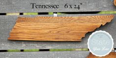 """Tennessee state shape handcrafted from repurposed Oak flooring.  Make an impact with 6 x 24"""" of Tennessee love!"""