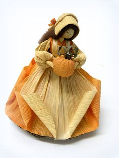 Vintage Table Top Doll, Fall Harvest Home Decor, Centerpiece, Natural Fibers, Corn Stalks, Orange Pumpkin Nature