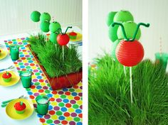 very hungry caterpillar centerpiece  custom polka dot fabric by wh hostess