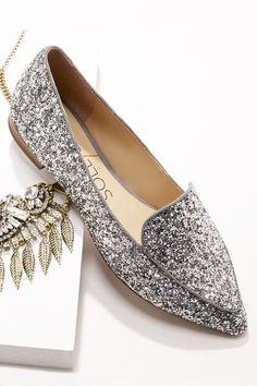 Make a statement in this silver glitter smoking slipper ==