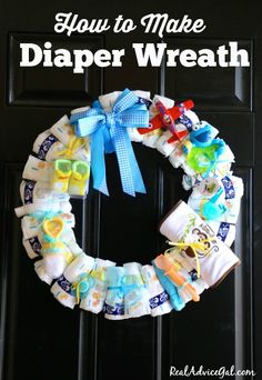 Create your own baby shower gift. Learn how to make a super cute diaper wreath.