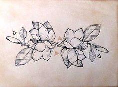Geometric Magnolia Tattoo Idea                                                                                                                                                                                 More