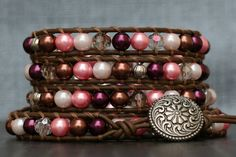 READY TO SHIP cowgirl glam wrap bracelet- pink, cream and bronze glass pearls with clear and champagne crystals on chocolate leather Handmade Jewelry Bracelets, Beaded Bracelets, Metal Buttons, Bronze, Ship, Pearls, Cream, Crystals, Pink