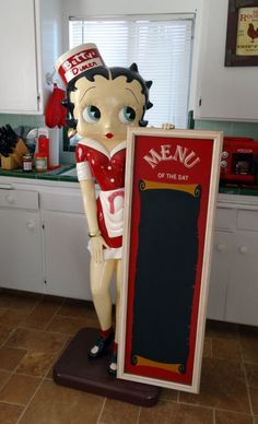 BETTY BOOP Life Size Statue with Menu Board Betty's Diner - Local Pickup Only | the Betty Boop Collectionary