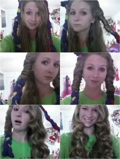 No heat curls! Braid three socks together and wrap your hair around the sock braid while damp. Add hairspray or spray gel. Leave socks in overnight. Wake up and take out the socks. :) Boom curly hair! by angeline