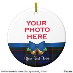 Fletcher Scottish Tartan Christmas Photo Double-Sided Ceramic Round Christmas Ornament