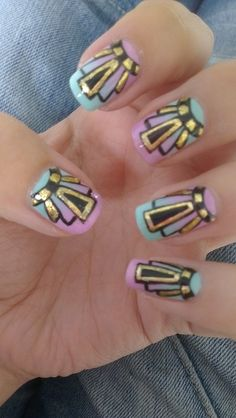 Art Deco Inspired Pastel #Nails #NailArt