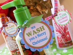 Attach to fun soaps or (smaller) hand sanitizers - great for teacher's gifts