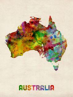 Australia Map Digital Art - Australia Watercolor Map by Michael Tompsett