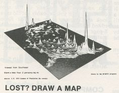 Lost? Draw a Map (1978)    US population density by county represented as elevation, from The Best of Creative Computing, Volume 3