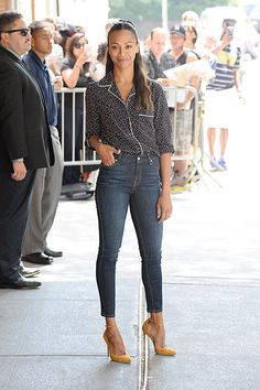 """Zoe Saldana is seen leaving the ABC studios after an appearance on """"The View"""" in New York City"""