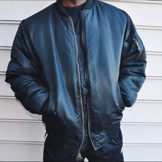 Black Reversible Flight Bomber Jacket Size Mens Large. Can fit a medium. No major rips holes or stains. All zippers and buttons intact. Very nice military quality bomber! Jackets & Coats