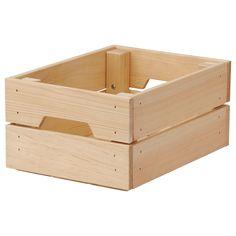 IKEA - KNAGGLIG, Kasten, 23x31x15 cm, , Stabil, robust und daher gut geeignet für Flaschen, Dosen, Einmachgläser.Platz sparend, da 2 Stück aufeinandergestapelt werden können.Lässt sich dank der Grifföffnungen einfach herausziehen und hochheben.Unbehandeltes Massivholz ist ein robustes Naturmaterial, das durch Ölen oder Wachsen noch strapazierfähiger und pflegeleichter wird.