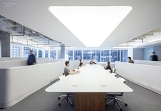 Media is the Message: IHeart Media's Headquarters Office by A+I and Beneville Studios. Solid-surfacing tops both the boardroom's table and the long desktops, all custom. #office