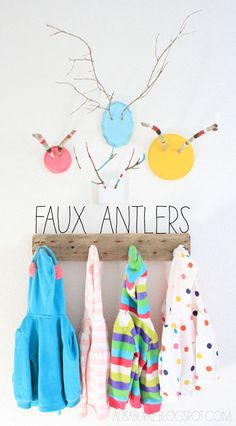 Diy Faux antlers I like the coat rack Diy And Crafts, Crafts For Kids, Arts And Crafts, Ideas Habitaciones, Deco Kids, Branch Decor, Kid Spaces, Diy Projects To Try, Kids Decor