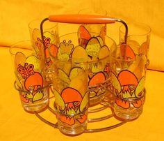 Vintage 60s Orange Yellow Mushroom Glass Tumblers Ice Bucket Merry Set w Box | eBay