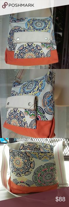 Fossil cross body canvas bag Used once Fossil Bags Crossbody Bags