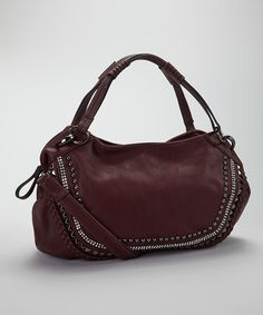 Take a look at this Burgundy Stud Vegan Leather Shoulder Bag by STUDIO 36 on #zulily today!