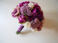 Purple Sangria Lavender Pink and Ivory Bridal by LKWeddingBouquet,