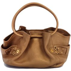 Cole Haan Pre-owned Cole Haan Bronze  Leather Cinched Tote ($119) ❤ liked on Polyvore featuring bags, handbags, tote bags, zippered tote bag, leather zip tote, brown leather tote, woven leather handbag and leather tote bags