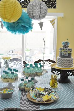yellow, gray & aqua baby shower theme | Found on thebakeboutique.wordpress.com