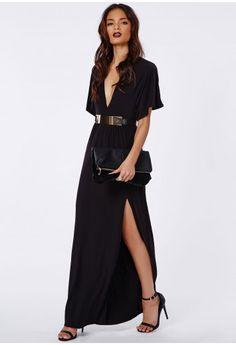 Marila Slinky Batwing Plunge Maxi Dress - Maxi Dresses - Missguided