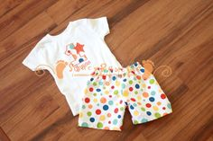 Shorts and Personalized Shirt Birthday Outfit for Circus Theme - ORIGINAL Design by StacyBayless for Toddler Boys on Etsy, $34.80