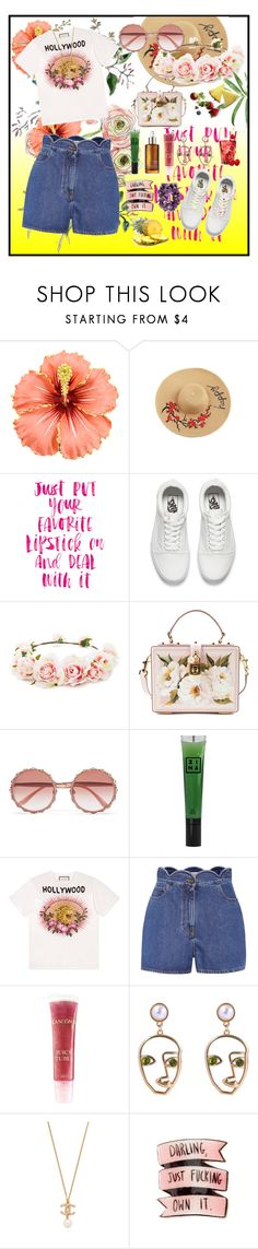 """""""FLOWER GIRL"""" by dashademianovich ❤ liked on Polyvore featuring Vans, Forever 21, Dolce&Gabbana, 3ina, Gucci, Valentino, Lancôme, WithChic and vintage"""