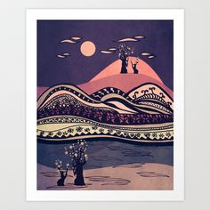 Abstract landscape art.  Psychedelic mountains (colour option) by Viviana Gonzalez.  #artprint