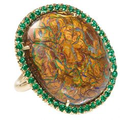 Boulder opal & emerald ring in 18-karat gold by Jane Taylor  i've never seen an opal like this