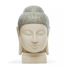 This piece and ref. 01012513 represent a head of Budda in the so called grecobudistic style from the Ghandara area. Buddha I is the most femenine, with narrow lips and a wider bun on her hair. Buddha Figures, Marco Antonio, Buddhism, Her Hair, Statue, Hinduism, Zen, Lips, Clay