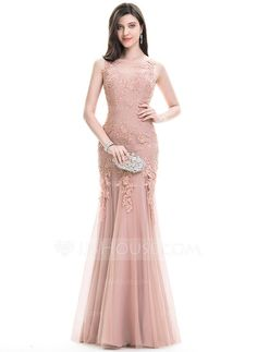 Trumpet/Mermaid Scoop Neck Floor-Length Zipper Up Regular Straps Sleeveless No Other Colors Spring Summer Fall General Plus Tulle Lace Hight:5.7ft Bust:32in Waist:24in Hips:35in US 2 / UK 6 / EU 32 Evening Dress