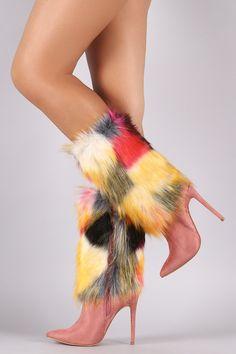 Shoe Republic LA Suede Multicolor Fur Pointy Toe Stiletto Boots