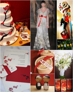 Red wedding inspiration board with a little Asian flair via www.eleganceandsimplicity.com