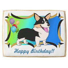 Happy Birthday Welsh Corgi Cartoon Jumbo Cookie