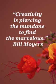 """""""Creativity is piercing the mundane to find the marvelous."""" Bill Moyers – Image by Dr. S Quote, Quote Of The Day, Good Morning Flowers, Writing Quotes, Writing Process, Meaning Of Life, Creative Cakes, Writing Inspiration, Thought Provoking"""