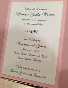Your favorite little girl will feel like a princess when she receives her princess wand and invitation to be your flower girl!  Invite your