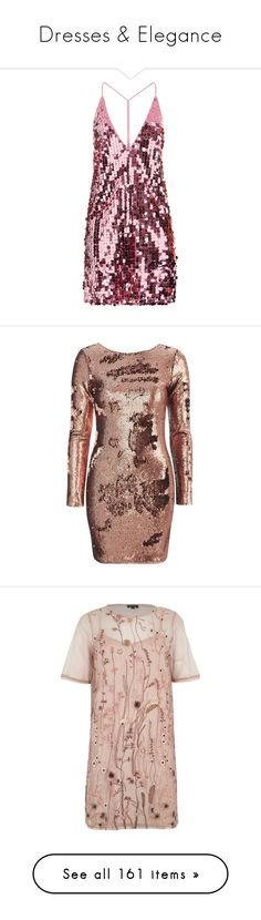 """""""Dresses & Elegance"""" by dolly-valkyrie ❤ liked on Polyvore featuring dresses, pink cocktail dress, pink dress, pink party dresses, plunging neckline cocktail dress, sequin cocktail dresses, motel dresses, long sleeve bodycon dress, bodycon dress and brown long sleeve dress"""