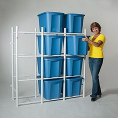 Storage Bin Shelf (for Rubbermaids). Made of PVC... who wants & PVC Pipe Shelves for the DIY-er in all of us. | channeling my ocd to ...
