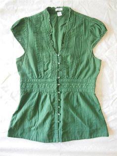 ANTHROPOLOGIE Odille Green Cotton Ruffle Pleated Crochet Waist Prairie Top 6 S