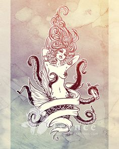 Sink or Swim Octopus Squid Mermaid Tattoo by FRANCEillustration