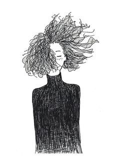 Beautifully drawn with Pencil  Blowing Curly Hair Series 001  Pear Tea Paperie Original Series  INSTANT DIGITAL PRINT   No Physical Paintings or