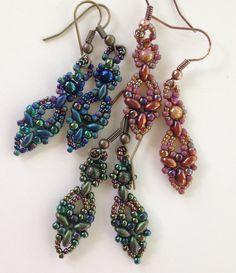 """SuperDuo """"Elinor"""" hand beaded earrings by BeadALittleDream on Etsy https://www.etsy.com/listing/251886019/superduo-elinor-hand-beaded-earrings"""