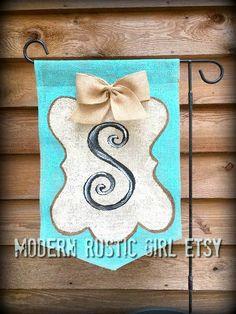 Monogram Burlap Garden Flag Tiffany Blue and by ModernRusticGirl