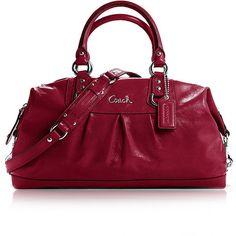 Coach Red Handbag Ashley Patent Leather Satchel F15454 (C282) ($489) found on Polyvore