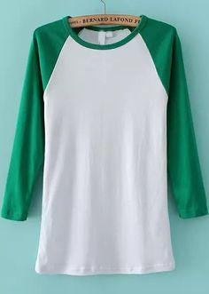 T-Shirt mince manche longue col rond -vert  14.55
