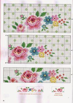 """Bom dia meninas e meninos!   Hoje trouxe para vocês os gráficos """"Barrado Romântico: Flores Pequenas em Ponto Cruz"""". Este é um lindo desenho..."""